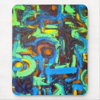 Tapis De Souris Traçages peints à la main d'art bleu de