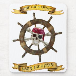 Tapis De Souris Travail comme un capitaine Party Like un pirate