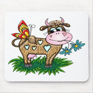 Tapis De Souris Vache et papillon à guépard