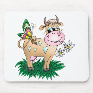 Tapis De Souris Vache et papillon mignons