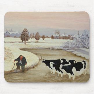 Tapis De Souris Vaches en rivière d'hiver