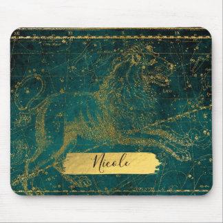 Tapis De Souris Vert astrologique céleste de lion de LION de carte