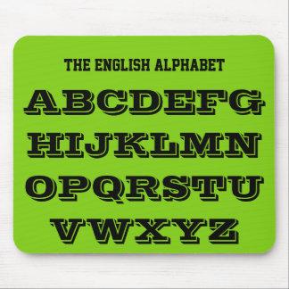 Tapis De Souris Vert jaune Mousepad d'alphabet anglais par Janz