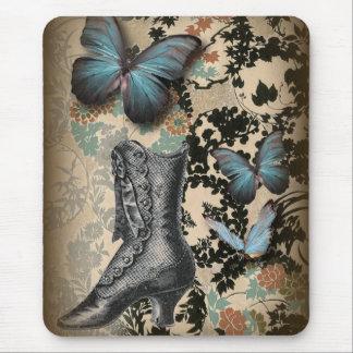 Tapis De Souris victorian floral de noir d'amant de chaussure de