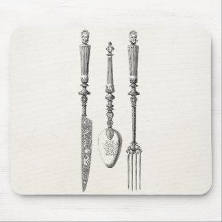 Tapis De Souris Vieux couverts de 1800s de couteau de fourchette