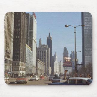 Tapis De Souris Vue 1966 de rue de Chicago l'Illinois d'avenue du