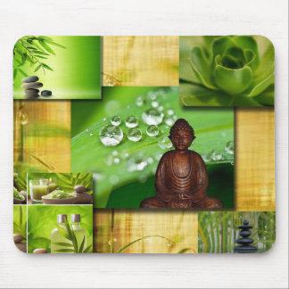 Tapis De Souris Zen et collage verts de sérénité de Bouddha