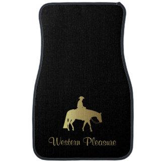 Tapis De Voiture Cheval occidental d'or de plaisir sur le noir