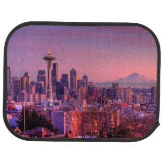 Tapis De Voiture Coucher du soleil derrière l'horizon de Seattle du