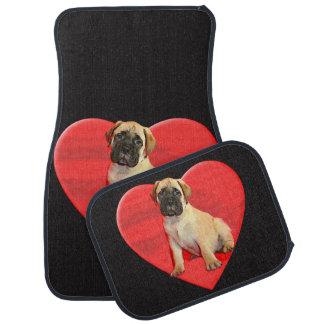Tapis de voiture de chien de Bullmastiff de coeur