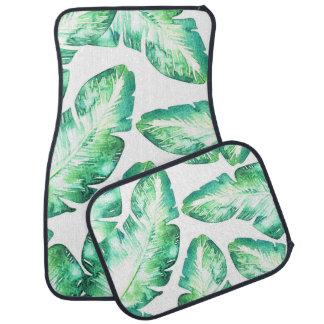 Tapis De Voiture Palmettes tropicales blanches et vertes pour la