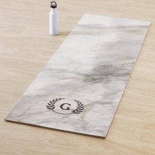 Tapis De Yoga Monogramme. Laurier de blé sur le marbre blanc