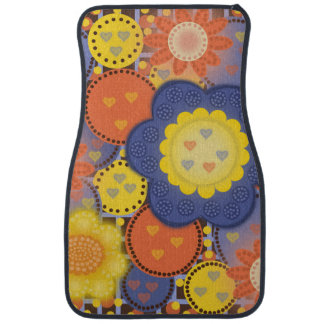 Tapis floral orange, jaune, bleu de voiture