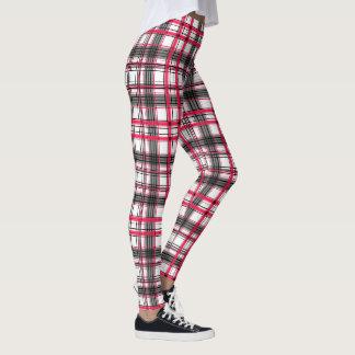 Tartan géométrique de noir, rouge et blanc leggings