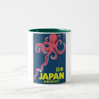 Tasse 2 Couleurs affiche vintage de voyage de calmar du Japon de 日本