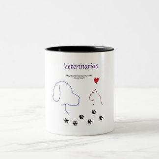 Tasse 2 Couleurs Copies de Vétérinaire-Patte sur mon coeur