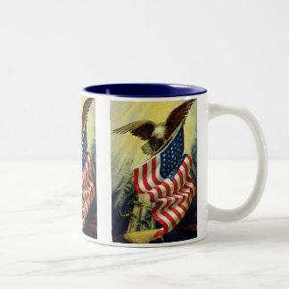Tasse 2 Couleurs Patriotisme vintage, drapeau américain patriotique