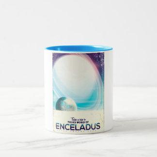 Tasse 2 Couleurs Poster vintage de voyage dans l'espace d'Enceladus