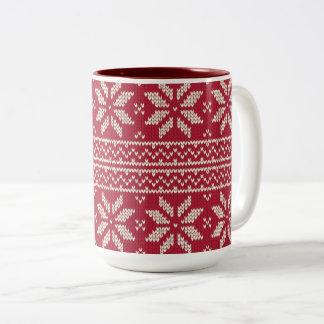 Tasse 2 Couleurs Rouge de motif de Noël
