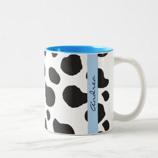 Tasse 2 Couleurs Votre nom - poster de animal, taches de vache -