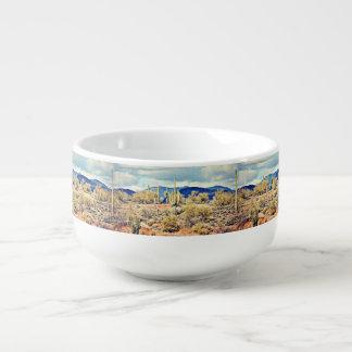 Tasse agréable de soupe à paysage de Saguaro de