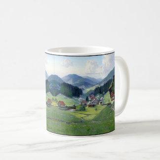 Tasse alpine de chalets de courant de fleurs