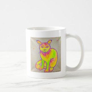 Tasse au néon peinte à la main de chat