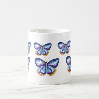 Tasse bleue d'insectes de nature d'aquarelle de