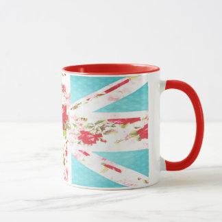 Tasse britannique florale et de pois d'Union Jack