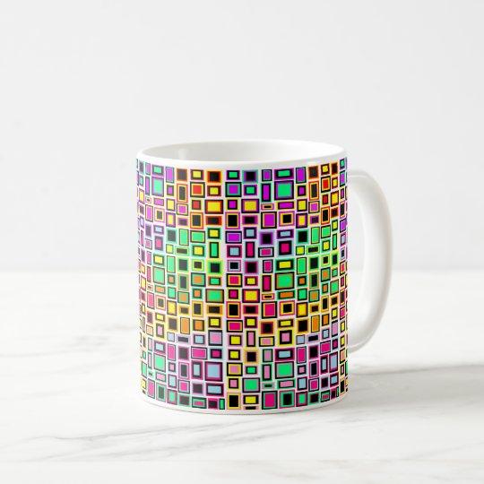 Tasse carrés multicolore joyeuse fun abstrait