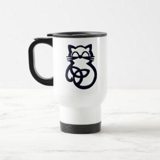 Tasse celtique de voyage de chat de noeud noir de