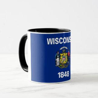Tasse combinée noire avec le drapeau du Wisconsin,