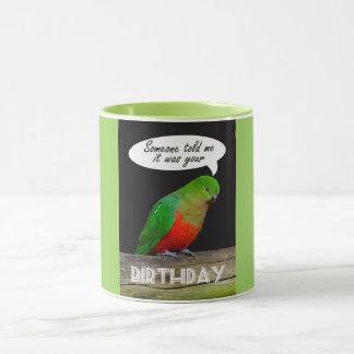 Tasse d'anniversaire, perroquet de roi