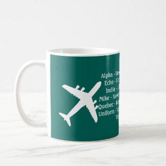 Tasse d'aviation d'alphabet phonétique