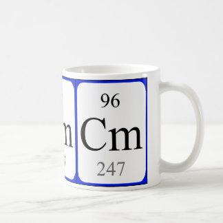 Tasse de blanc de l'élément 96 - curium