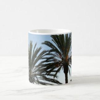 Tasse de blanc de photo de palmiers