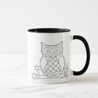 Tasse de café adulte de hibou de coloration de