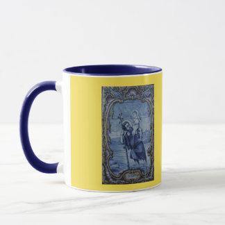 Tasse de café bleue de tuile de Christopher de