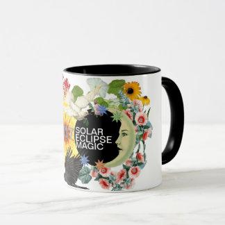 Tasse de café céleste vintage de l'éclipse solaire