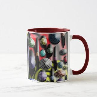 Tasse de café colorée avec le regard 3D