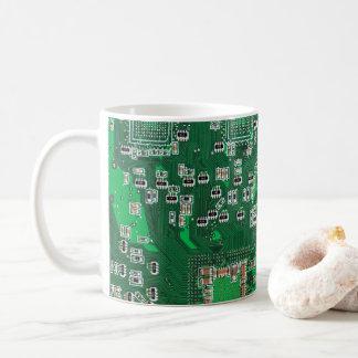 Tasse de café de carte de geek d'ordinateur