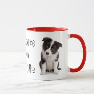 Tasse de café de chiot de border collie d'amour