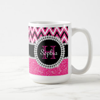 Tasse de café décorée d'un monogramme de Chevron