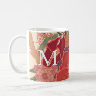 Tasse de café florale vintage de monogramme