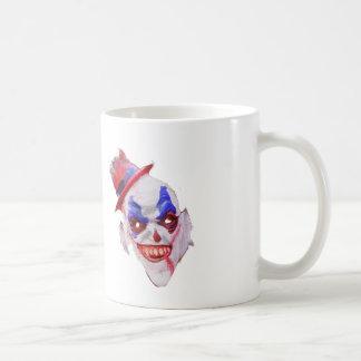 Tasse de café mauvaise de visage de clown de