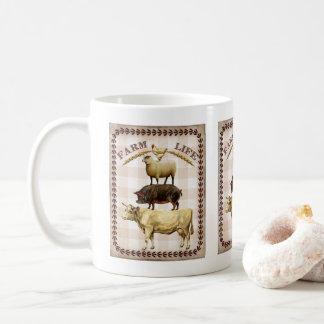 Tasse de café nostalgique d'animaux de la vie