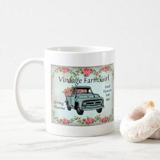 Tasse de café nostalgique de ferme de pays vintage