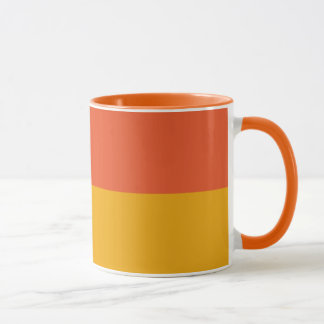 Tasse de café orange et jaune de Decaf