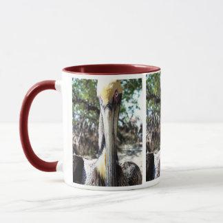 Tasse de café sauvage de regard fixe de pélican