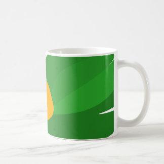 Tasse de café verte de vol de perroquet